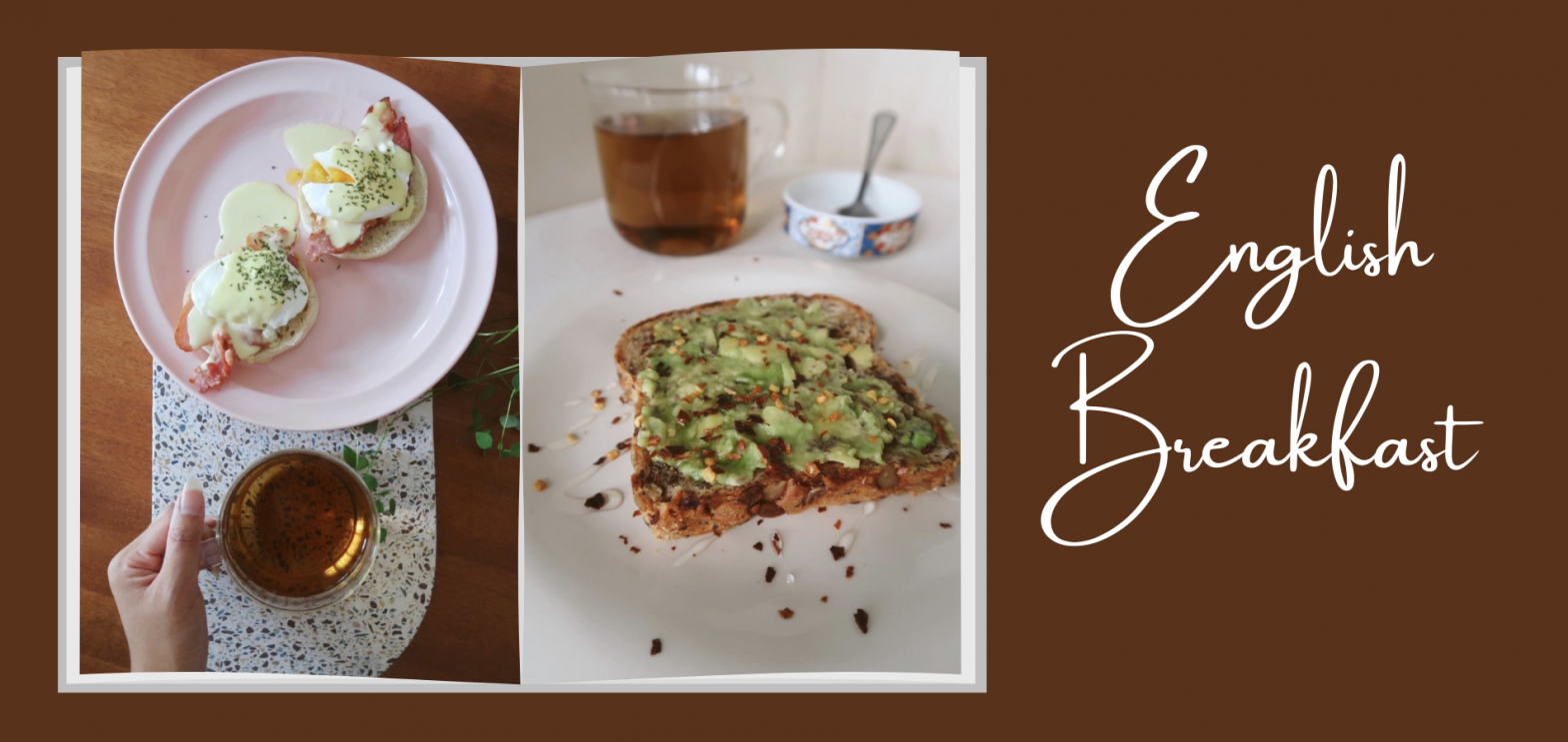 English breakfast tea with avocado toast and eggs benedict